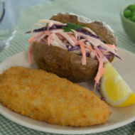 Breaded Fish, baked potato and no-mayo slaw