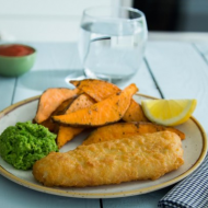 Cod Fillets, sweet potato wedges and crushed peas